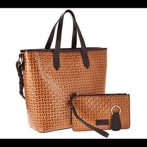 Woven Embossed Leather Shopper w/Accessories